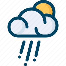 cloud, cloudy, rain, sun, weather icon