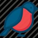 animal, bird, bullfinch, nature, season icon