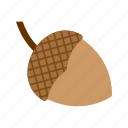 acorn, autumn, brown, fall, leaf, season, tree icon