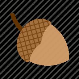 acorn, autumn, brown, fall, leaf, season, tree icon