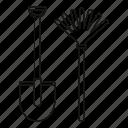 farm, isolated, line, metal, outline, rake, shovel icon