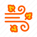 air, autumn, blow, fall, leaves, wind, windy icon