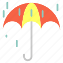 dropletts, forecast, rain, umbrella, weather icon