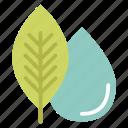 ecology, elements, globe, leaf, nature, water icon