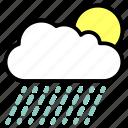 cloud, precipitation, rainfall, raining, shower, sun icon