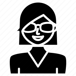 avatar, female, girl, glasses, person, user icon