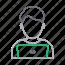 avatar, employee, laptop, male, man