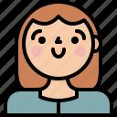 female, girl, profile, woman icon