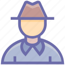 dentlemen, detectiv, detective, fedora, hat, male, man icon