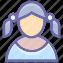 avatar, child, girl, kid, schoolgirl, student, user icon