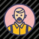 bald, beard man, man, person