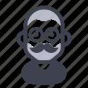 avatar, character, eyewear, mustache icon