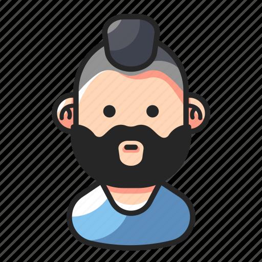 avatar, beard, man, punk icon