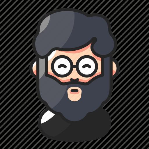 avatar, beard, fat, man icon