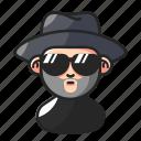 avatar, beard, hat, mysterious icon