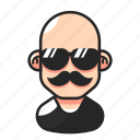 avatar, bald, man, mustache icon