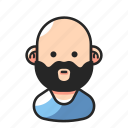 avatar, bald, beard, man icon