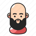avatar, bald, beard, fat icon
