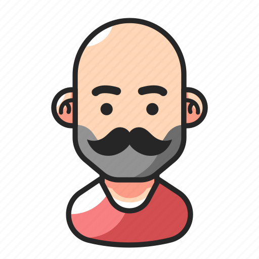 avatar, bald, man, mustache icon