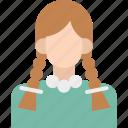 child, girl, little girl, school girl, younger girl icon