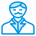 cashier, coatweared, hero, human, man, social, user icon