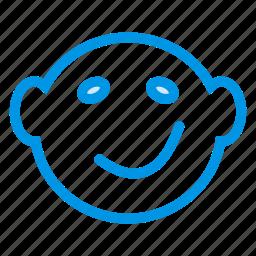 baby, cartoon, cuteface, happyface, happysmiley, smiley, smiling icon