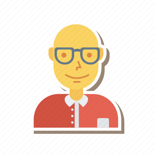 avatar, business, glasses, old, person, profile, user icon
