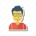 avatar, glasses, human, person, profile, user, young icon