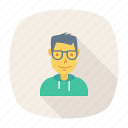 avatar, business, glasses, person, profile, user, young icon