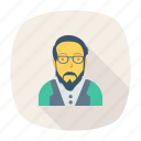 avatar, glasses, man, old, person, profile, user icon