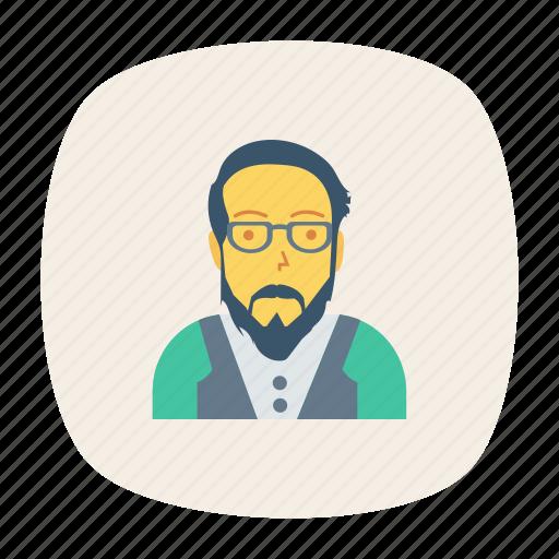 avatar, glasses, man, old, person, profile, user icon
