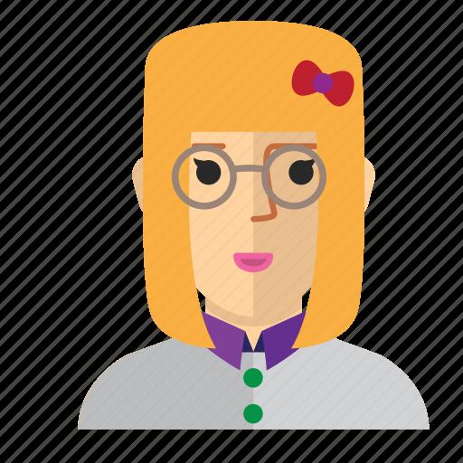 avatar, eyeglass, girl, nerd, staff, woman, work icon