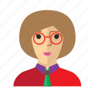 avatar, eyeglass, girl, nerd, staff, woman, work icon