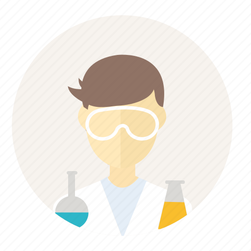account, avatar, chemical, people, science, scientist, teacher icon