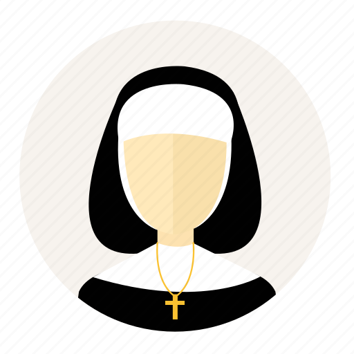 account, avatar, christian, nun, person, sister, woman icon