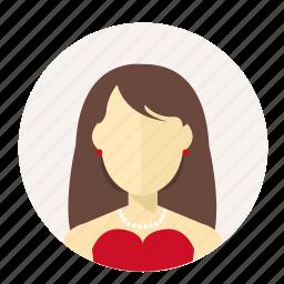 account, avatar, female, lady, luxury, user, woman icon