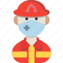avatar, firefighter, male icon
