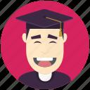 avatar, avatars, graduate, man, profile, user icon