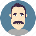 avatar, avatars, man, mustache, profile, user icon