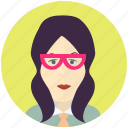 avatar, avatars, female, nerd, profile, user, woman icon