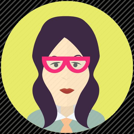 avatar, avatars, female, nerd, profile, user, woman icon