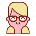 avatar, blonde, emotional expression, face, geek, girl emoji, profile icon