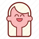 avatar, blonde, emotional expression, face, girl emoji, profile, smile icon