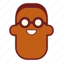 avatar, black man, emoji, face, glasses, man, profile icon