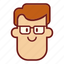 avatar, emoji, face, glasses, man, profile, teacher icon