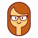 avatar, brunette, emotion, face, geek, profile, user icon