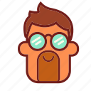 avatar, cool guy, emoji, face, glasses, man, profile icon