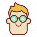avatar, emoji, face, glasses, guy, man, profile icon