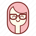 avatar, face, geek, girl emoji, person, pink hair, woman icon