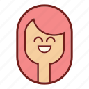 avatar, emotional expression, face, girl emoji, pink hair, profile icon